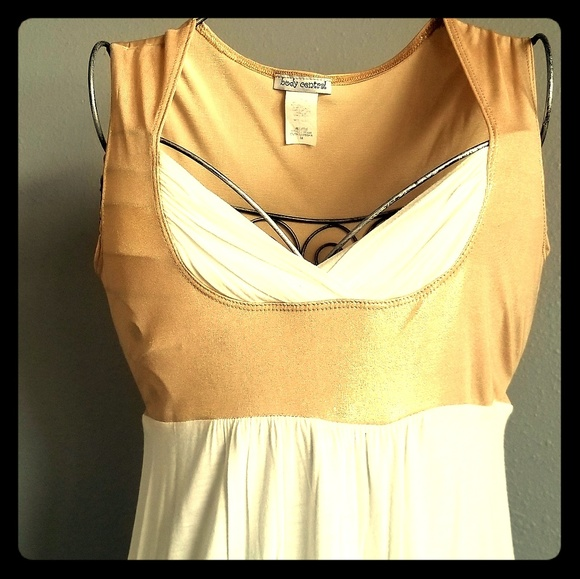 Tops - Gold & White Gladiator Tunic Top w/ Tie Back